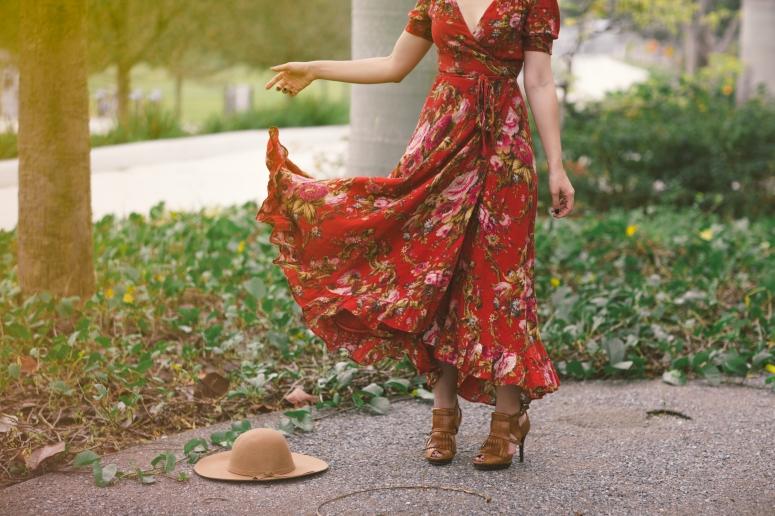 Carolina Benoit Red Ralph Lauren Flowy Dress