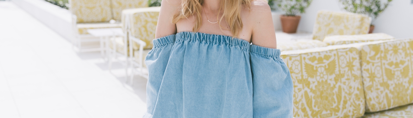 Off The SHoulder denim on denim fashion