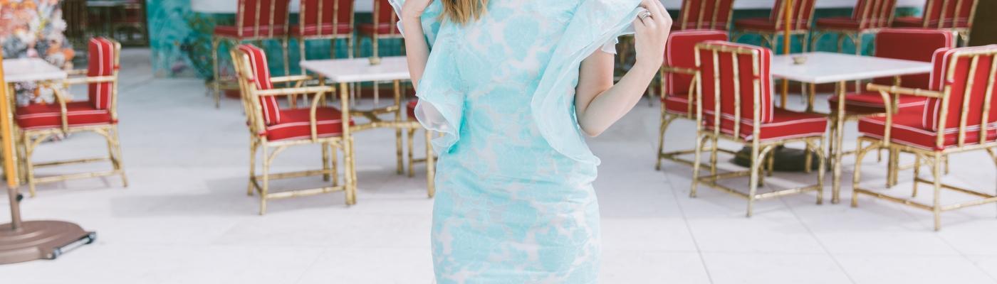 carolina benoit aqua dress ark & co bloguera de moda theoria