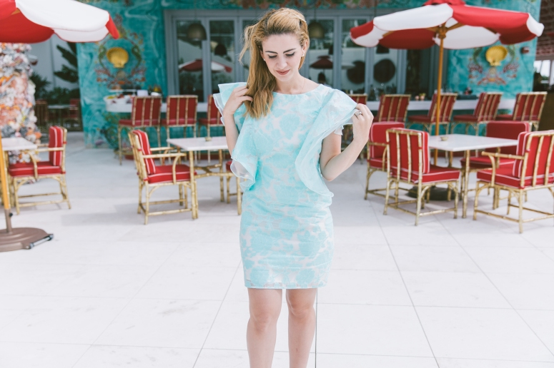 carolina benoit aqua dress ark & co bloguera de moda theoria